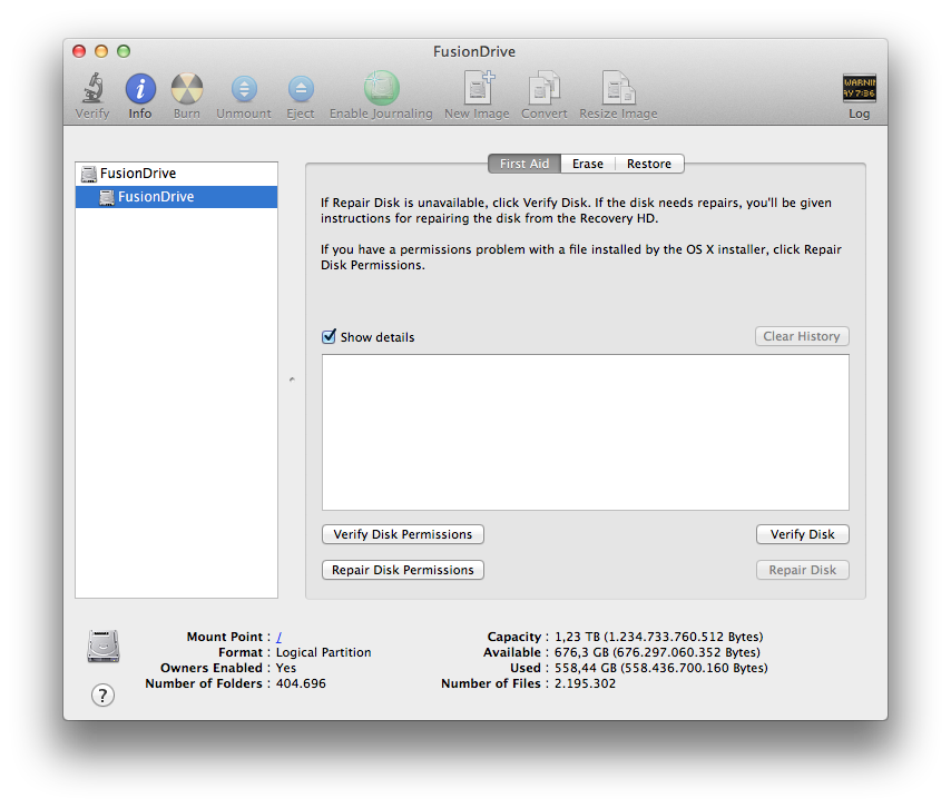 Fusion Drive Disk Utility