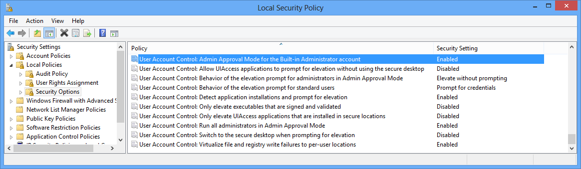 User Account Control: Admin Approval Mode for the built-in Administrator Account